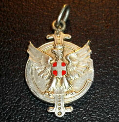 Italy 1938 Swimming Race Award Medal Eagle Design. Silver And Enamel Scarce