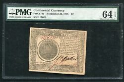 Cc-80 September 26, 1778 7 Seven Dollars Continental Currency Pmg Unc-64epq