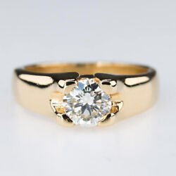 Round 0.71ct Diamond Solitaire Engagement Ring In 14k Yellow Gold Size 5.75