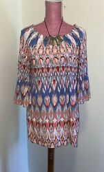 """NWT Ali Miles 34"""" Sleeve Embroidered Womens Plus Shirt Fringe Bell Sleeve 2X"""