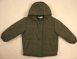 Baby Under boys Jacket Size 4 Gray Puffy Snap Button Full Zip Hoodie Cold Snow $19.99