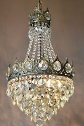1950s Antique Vintage Crystal Chandelier, Brass Ceiling Lighting, Lamp And Pendant