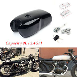 9l / 2.4gal Vintage Motorcycle Cafe Racer Seat Fuel Gas Tank Petcock Andcap Switch