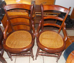 Pair Of Walnut Caned Seat Dinette Chairs / Sidechairs Sc159