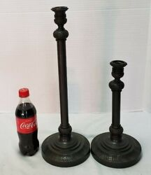 Set Of 2 Candleholder Bronze Plated Candlestick Holders Candle 18 12