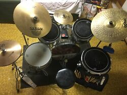 5 Peice Silver And Black Slingerland Drumset With Cymbols And Full Gear