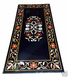 2x4 Black Marble Coffee Center Table Top Rare Inlay Mosaic Marquetry Home Decor
