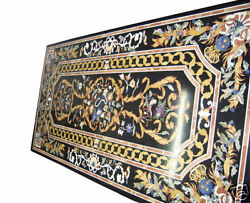 6x3 Black Marble Coffee Center Table Top Rare Inlay Mosaic Marquetry Home Decor