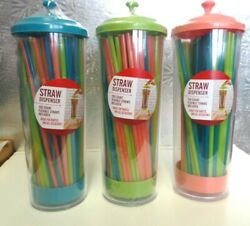 STRAW DISPENSER 100 COUNT FLEXIBLE STRAWS INCLUDED SEALED CONTAINER $7.75