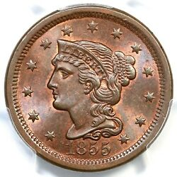 1855 N-12 Pcgs Ms 65 Bn Upright 55 Braided Hair Large Cent Coin 1c