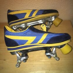 Vintage Marco Polo Tennis Shoe Skates, Navy Blue And Yellow W/ Suede Leather Nos