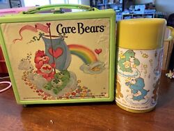 Vintage 1983 Green Plastic Care Bears Lunchbox With Yellowthermos Aladdin