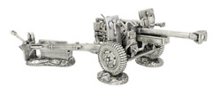 Wwii Military 3d Statue 34-38 Oz Sterling Silver Howitzer M114 Cannon Antique Nm