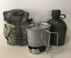 New G.i. Style U.s Made 1 Qt Canteen With Stainless Steel Stovecup And Lid.