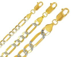 14k Solid Two Tone Gold 3-9mm Figaro Chain Men Women Light Concave Necklace