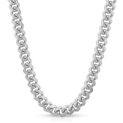 14k White Gold 7-8mm Hollow Miami Cuban Link Chain Necklace Men Women Italy