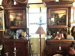 Antique Pair Of Wood Carved Antique French Breton Oak Cabinet 1920 And039s Orig Keys