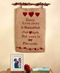 Country Rustic Burlap Wall Banners Simplify Berries And Stars Sentiments Hanging