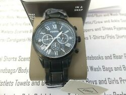 Fossil Wrist Watch Mens Flynn Midsize Chronograph Black S.steel Watches New £149