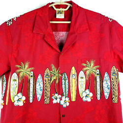 Winnie Fashion Menand039s Real Hawaiian Shirt - Surf Boards - Button Up- Red - 2xl