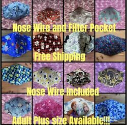 Face Mask Handmade in USA. 100% Cotton.Pocket for filter and Nose wire.Washable $7.99