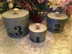Three Vintage Country Farm House Tin Nesting Canisters