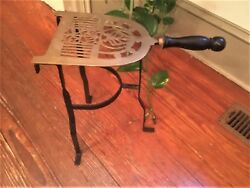 Antique Brass And Iron Hearth Fireplace Trivet Wood Handle 13 1/3 Tall