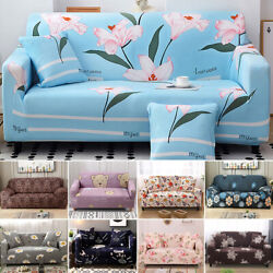 1-4 Seater Printed Sofa Covers Polyester Stretch Couch Cover Furniture Protector