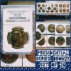 Usa Presidential Proof Bronze Medal Set W/ Ngc Ms67 Rd Abraham Lincoln Red