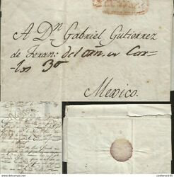 J 1800 Mexico Colonial Mail Red Cancellation Complete Letter Circulated Cov