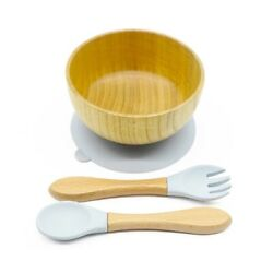 Gray Silicon Baby Plate- Bowl Sticky Bamboo