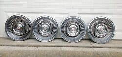 1963 1964 Cadillac Hubcaps 15 Set Of 4 Wheel Covers Vibrant Center Emblems Oem
