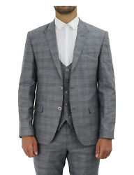 Menand039s Edwards Three Piece Check Suit 500101 - Grey/black