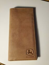 Brand New Leather John Deere Tan Checkbook Wallet Tractor Image Inside  $12.99