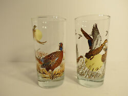 Irving Oil Limited Duck And Pheasant Tumbler Glasses 1986 Birds Vintage Drinking