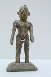 Indian Antique Hand Carved Wooden South Indian Painted Lady Doll Figurine Nh1408