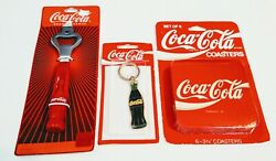 Lot Of 3 Coca Cola Bottle Opener, Coasters And Key Chain- Coke Vintage New On Card