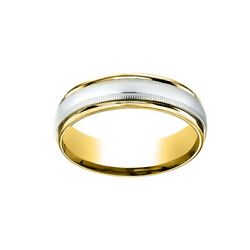 14k Two-toned 6mm Comfort-fit Polished Carved Design Menand039s Band Ring Size 13