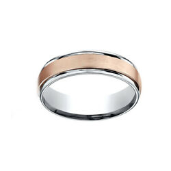 14k Two-toned 6mm Comfort-fit Satin Finsh Design Menand039s Band Ring Size 8