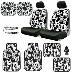 New Mickey Mouse 14pc Car Seat Covers Floor Mats And Accessories Set