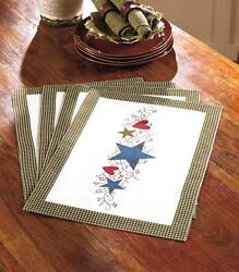 Primitive Country Hearts And Stars Berries 4pc Placemats Gingham Table Linen Set