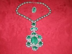Marian Nez---- Pendant, Necklace And Ring Set -- Sterling Silver And Malachite