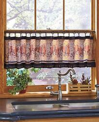 Primitive Hearts And Stars Window Valance And Hooks Country Berries Folk Art Decor