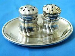 Antique Set Of Tray Tezler 800 Sterling Silver Saltand Pepper Shakers Mark 113