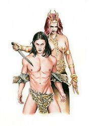 Tarzan And Queen La Of Opar - Original Watercolor - Published And Exhibited And Tv