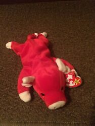 1995 Retired Ty Beanie Baby Collection. Snort The Red Bull.