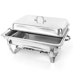 9L Warming Tray Food Dish Warmer Stainless Steel Hot Plate Hotel Buffet Tabletop