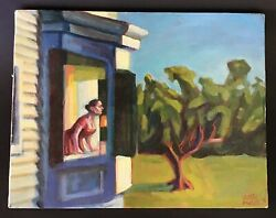 """Justin Forbes Oil On Canvas 1995 14"""" X 11"""" Woman Looking Out A Bay Window"""