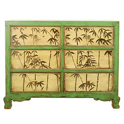 Repro Antique 48 W 35 T 6 Drawer Green Cabinet Dresser Chest Bamboo Paintings