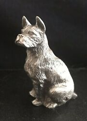 Fine Pewter Silver Boxer Dog Puppy Highly Detailed Figurine Statue U